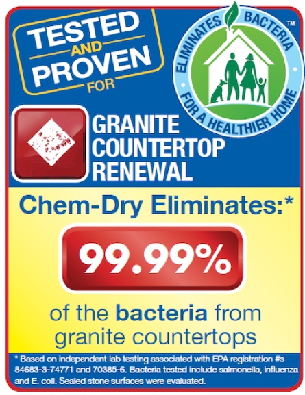 Chem-Dry of Lodi removes up to 98.4% of bacteria from countertops